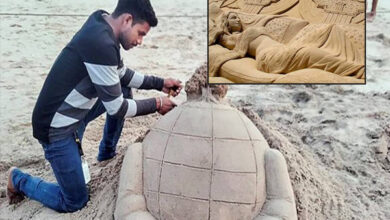 Photo of नक्सल प्रभावित इलाके से पुरी के समुद्र तट तक पहुंचा एक उदीयमान रेत कलाकार